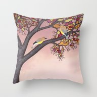 Throw Pillow featuring Cedar Waxwings On The St… by Sarah Knight