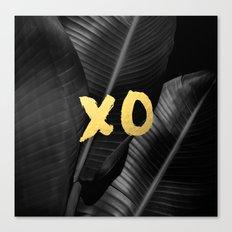 XO gold - bw banana leaf Canvas Print