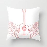 Flying Guitar. Throw Pillow