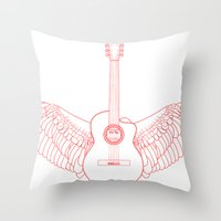 Flying Guitar. Throw Pillow
