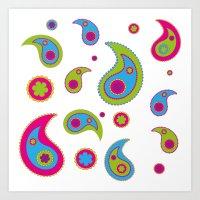 Paisleys - Plain Background Art Print