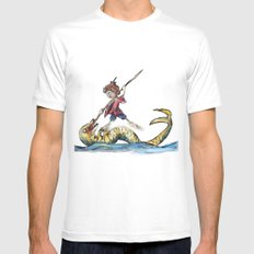 Saint George and the Dragon White SMALL Mens Fitted Tee
