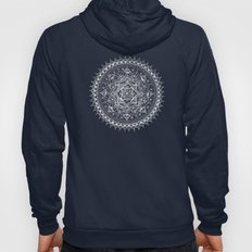 White Flower Mandala on Black Hoody