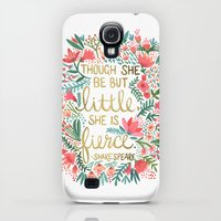 Galaxy S4 Cases featuring Little & Fierce by Cat Coquillette