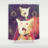 Shower Curtain featuring Galactic Cats Saga 4 by Carolina Nino