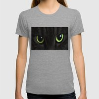 Green Cat Eyes Womens Fitted Tee Tri-Grey SMALL