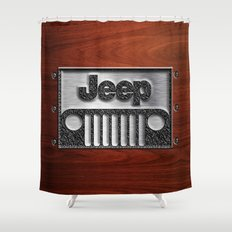 Embossed Steel Jeep logo with wood background iPhone 4 4s 5 5c 6, pillow case, mugs and tshirt Shower Curtain