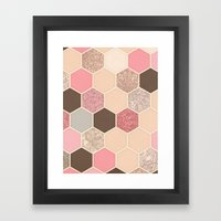 Caramel, Cocoa, Strawberry & Cream Hexagon & Doodle Pattern Framed Art Print