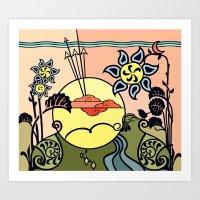 Meadow Gate Sunrise Art Print