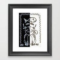 Cat (Black & White) Framed Art Print