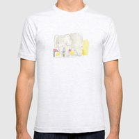 Elephant loves apples Mens Fitted Tee Ash Grey SMALL