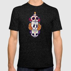 Caliveras Day of the Dead Mens Fitted Tee Tri-Black SMALL