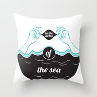 In The Arms of The Sea Throw Pillow