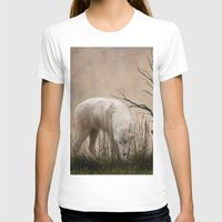 Woodland Wolf Womens Fitted Tee White SMALL