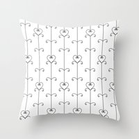 Black & White Hearts Throw Pillow