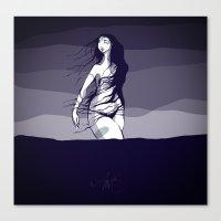 Woman In The Ocean  Canvas Print