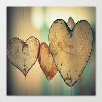 Vintage Bokeh Hearts Pattern Canvas Print