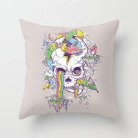 Flying Rainbow skull Island Throw Pillow