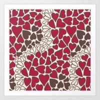 HEARTS  ~  CRIMSON, CLEA… Art Print
