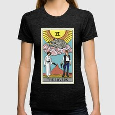 The Lovers - Tarot Card Womens Fitted Tee Tri-Black SMALL