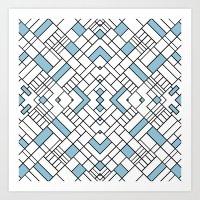 PS Grid 45 Sky Blue Art Print
