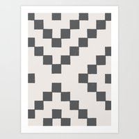 Tiles - in Charcoal Art Print