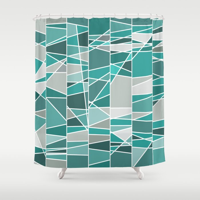 Turquoise And Grey Shower Curtain By Colorshop Society6