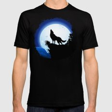 Wolf Howling at Blue Moon SMALL Mens Fitted Tee Black