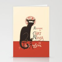 french Stationery Cards featuring A French Ninja Cat (Le Chat Ninja) by Kyle Walters