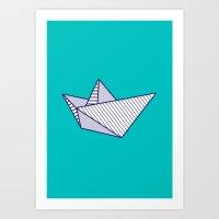 Fune, Navy Lines On Turq… Art Print