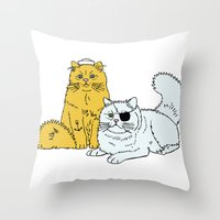 Navy Cats Throw Pillow