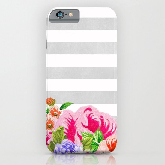 FLORAL GRAY STRIPES iPhone & iPod Case