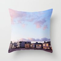Midcentury Style Homes along the Beach, Sunset Beach, California Throw Pillow
