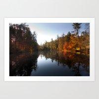 Mirrored Lake In Fall Art Print