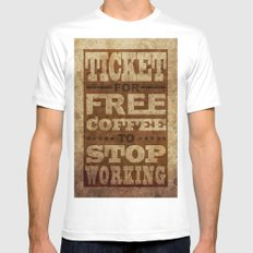 Free Coffee Ticket White Mens Fitted Tee SMALL