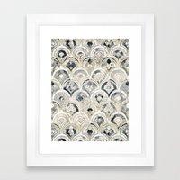 Monochrome Art Deco Marble Tiles Framed Art Print