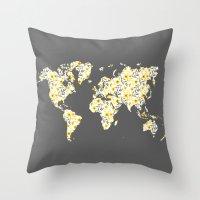 Yellow Flowers World Map Throw Pillow