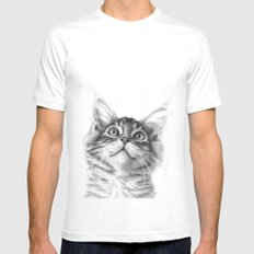 Kitten looking up G115 SMALL Mens Fitted Tee White