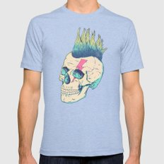 Skull Punk Mens Fitted Tee Tri-Blue SMALL
