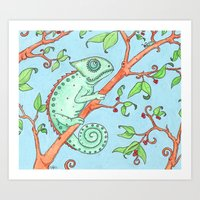 Cute Chameleon Art Print