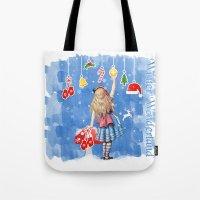 Alice Winter Wonderland, Christmas Design Tote Bag