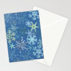 icy snowflakes on blue Stationery Cards