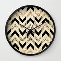 Black & Gold Glitter Herringbone Chevron on Nude Cream Wall Clock