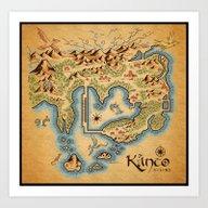 Art Print featuring Kanto Map by MeleeNinja