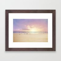 the beach is my happy place Framed Art Print
