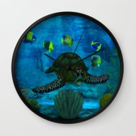 Wall Clock featuring Into The Deep Aquarium by BohemianBound