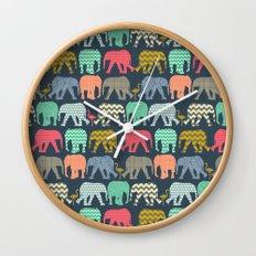 baby elephants and flamingos Wall Clock