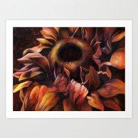 Brown Sunflower Art Print