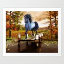 Horse on the Lake Art Print