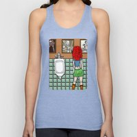 Girl in Skirt at Urinal by RonkyTonk Unisex Tank Top